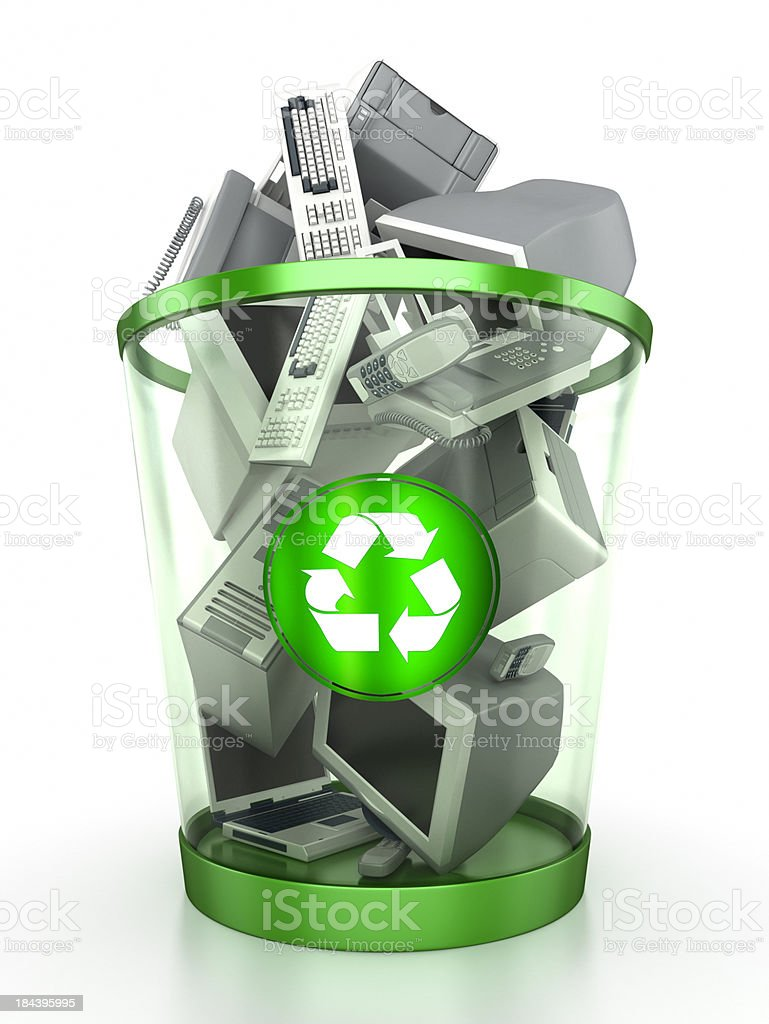 Recycling bin containing computer components stock photo
