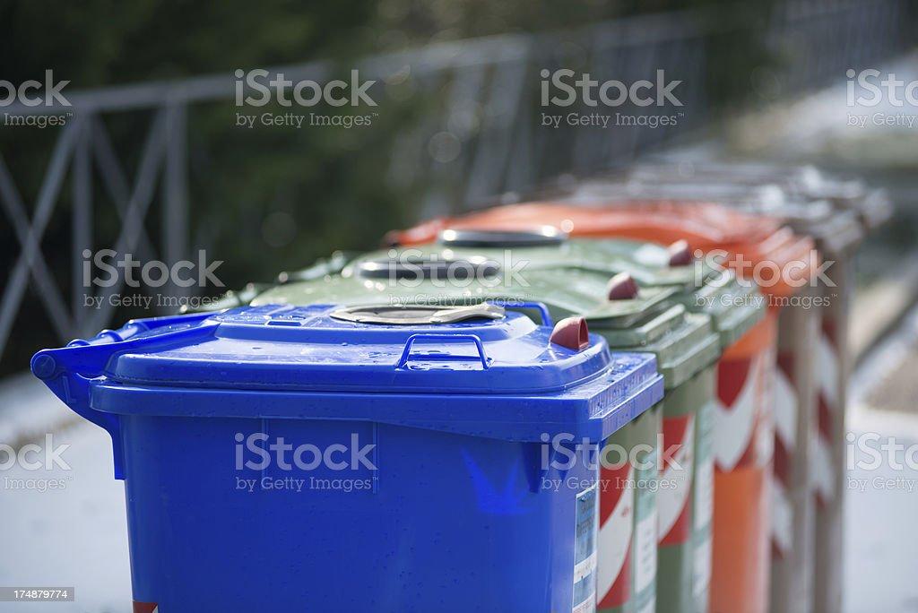 Recycling bin row stock photo