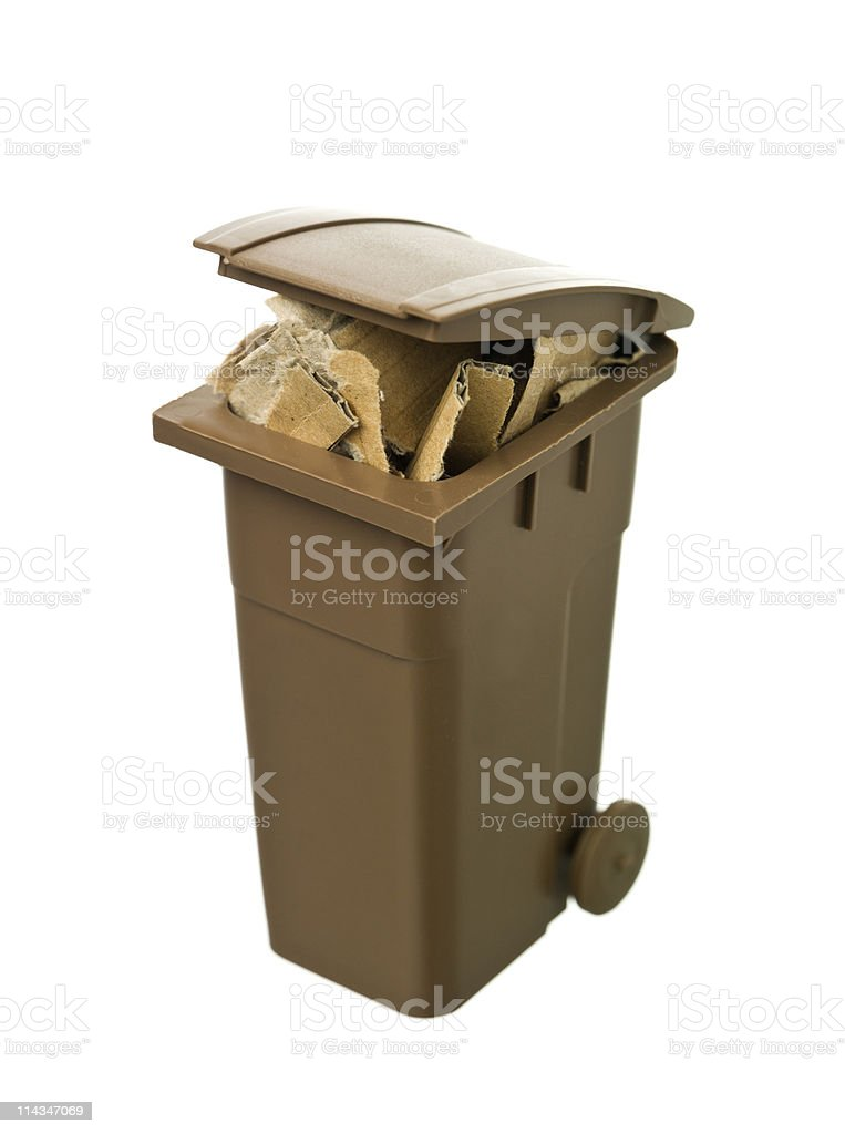 Recycling bin with cardboard paper royalty-free stock photo