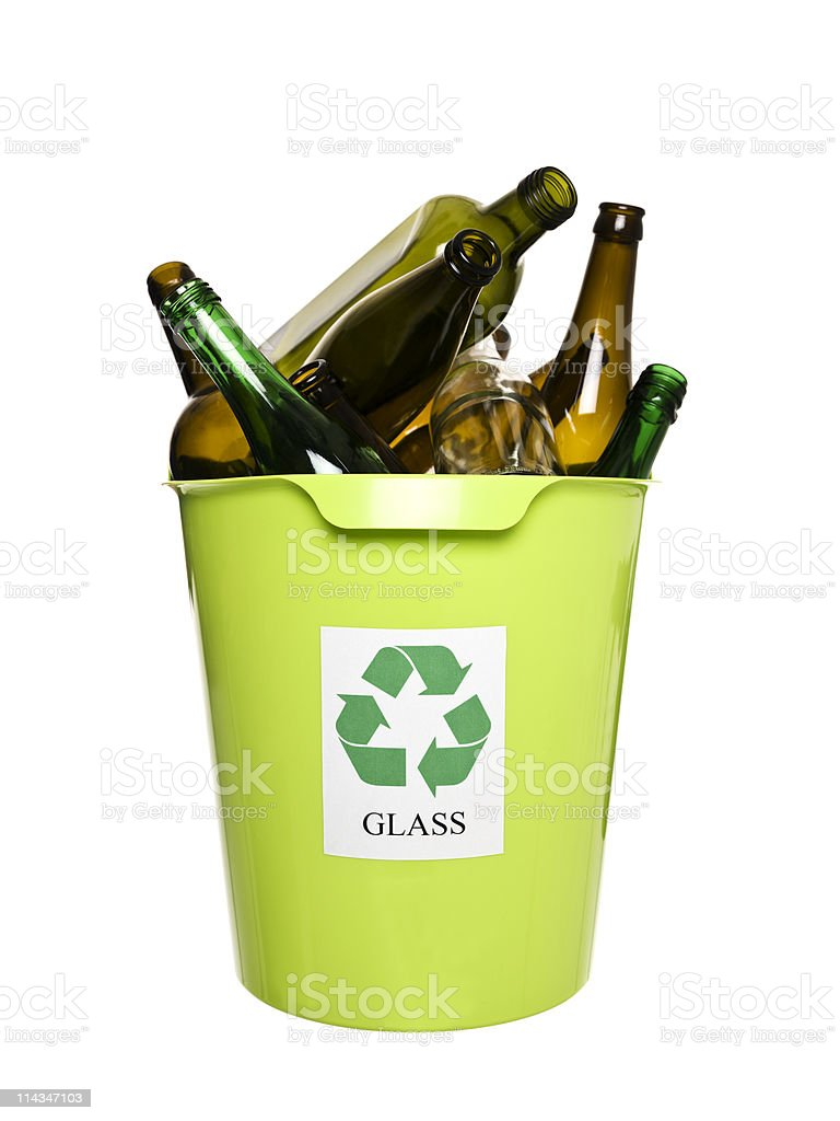 Recycling bin with glass stock photo