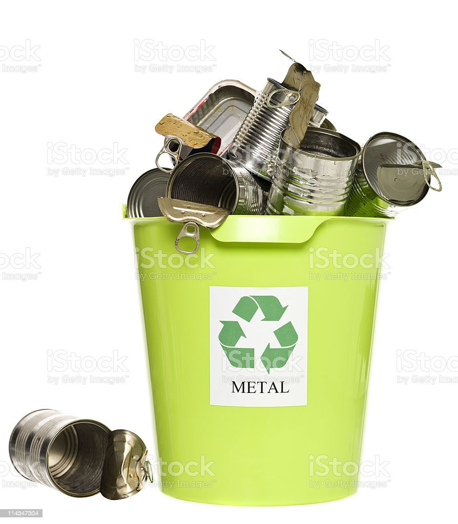 Recycling bin with metal products royalty-free stock photo