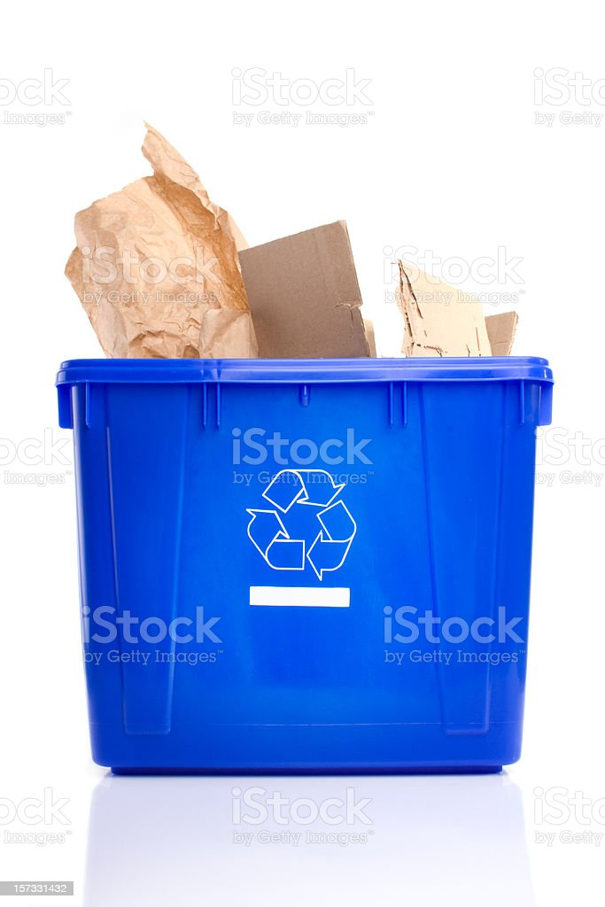 Recycling bin with paper royalty-free stock photo