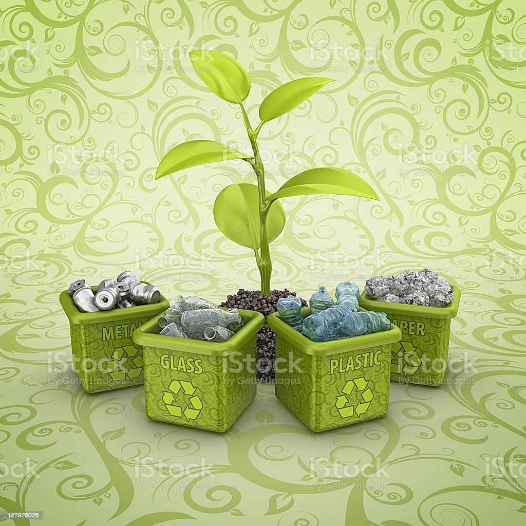 recycling bins and plant stock photo