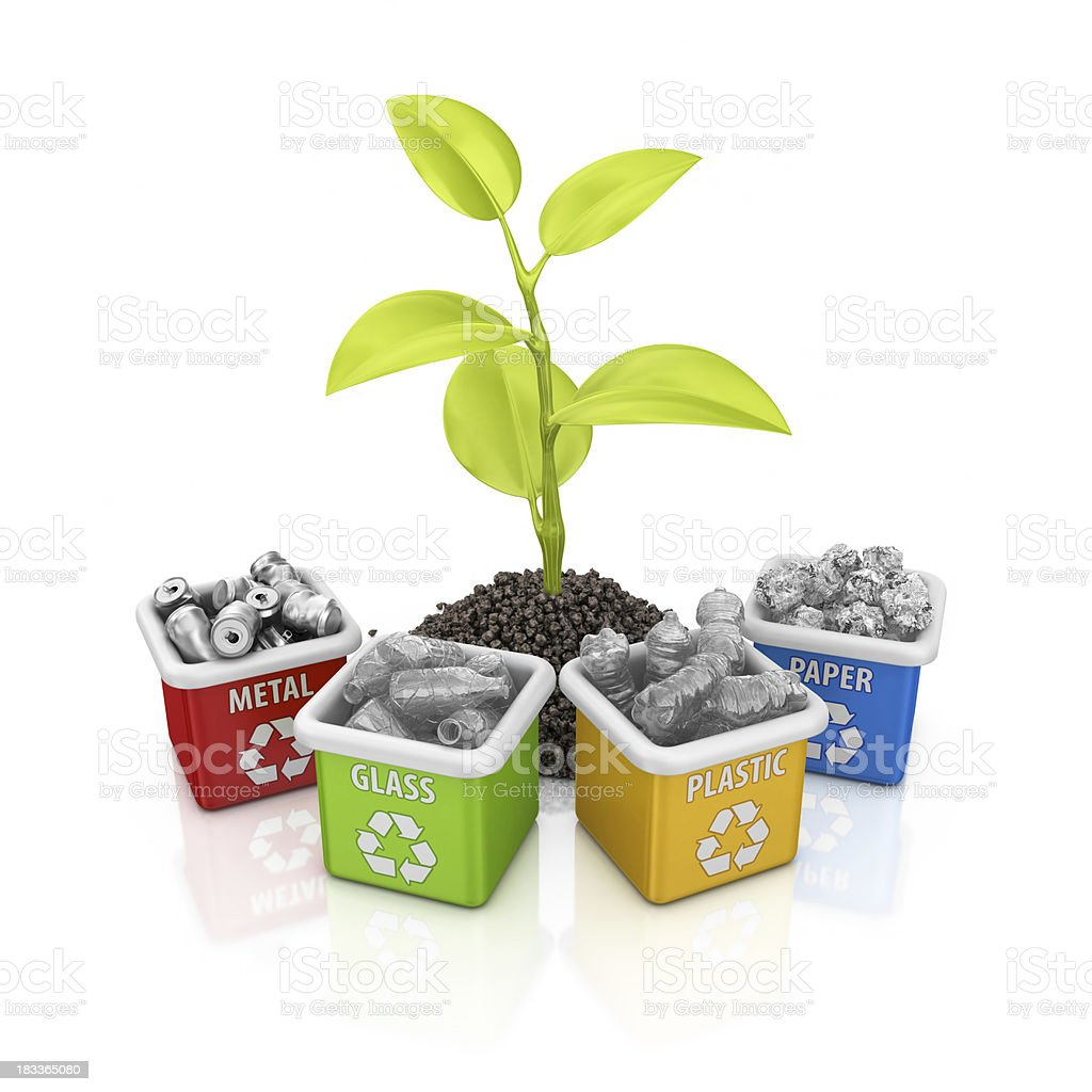 recycling bins and plant royalty-free stock photo