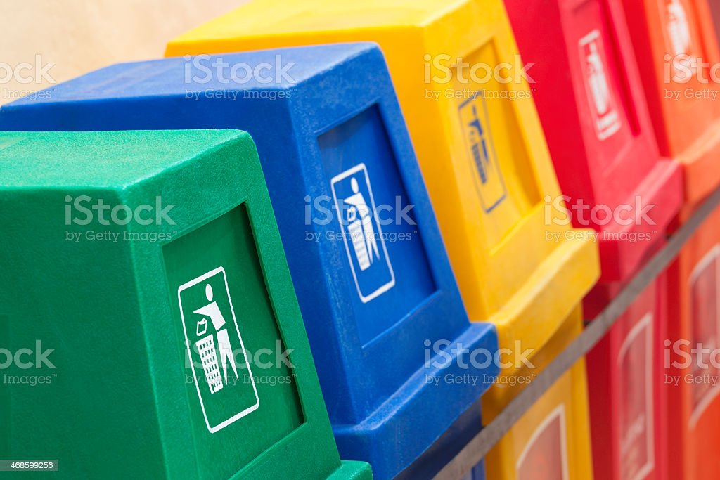 Recycling bins at a recycling station stock photo