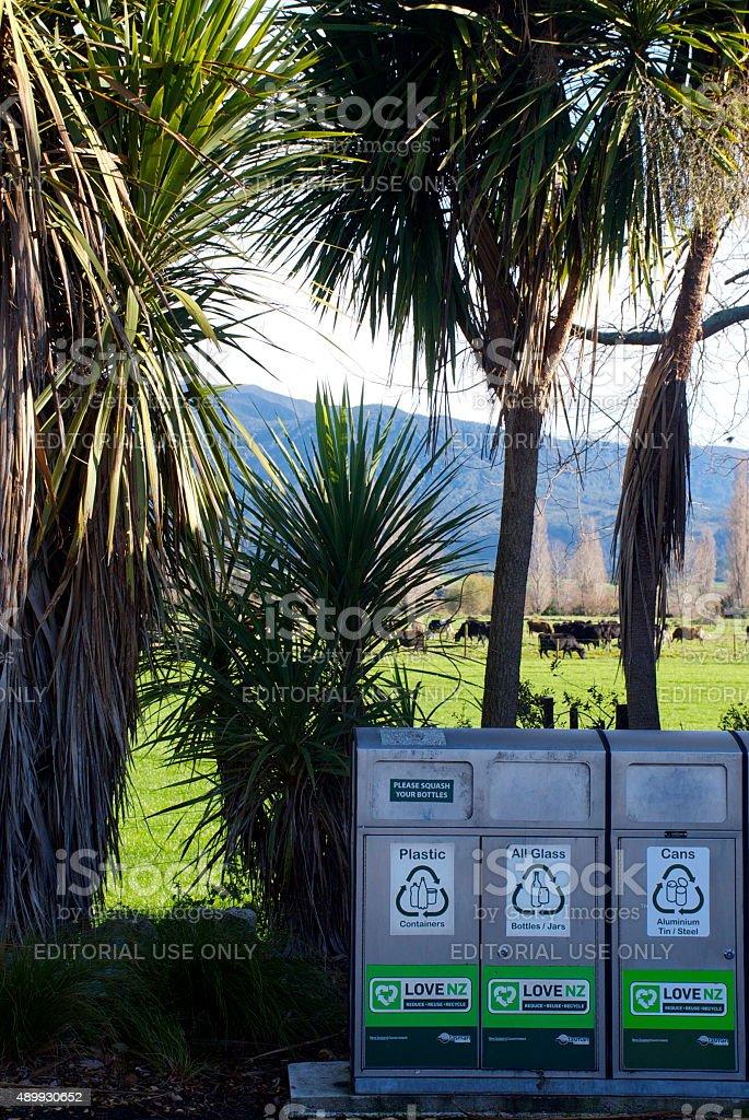 Recycling Bins, New Zealand stock photo