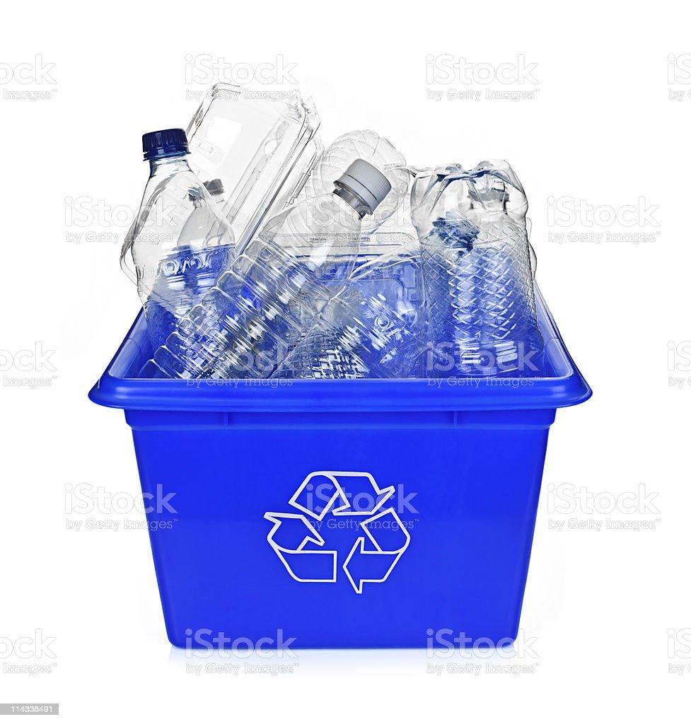 Recycling blue box stock photo