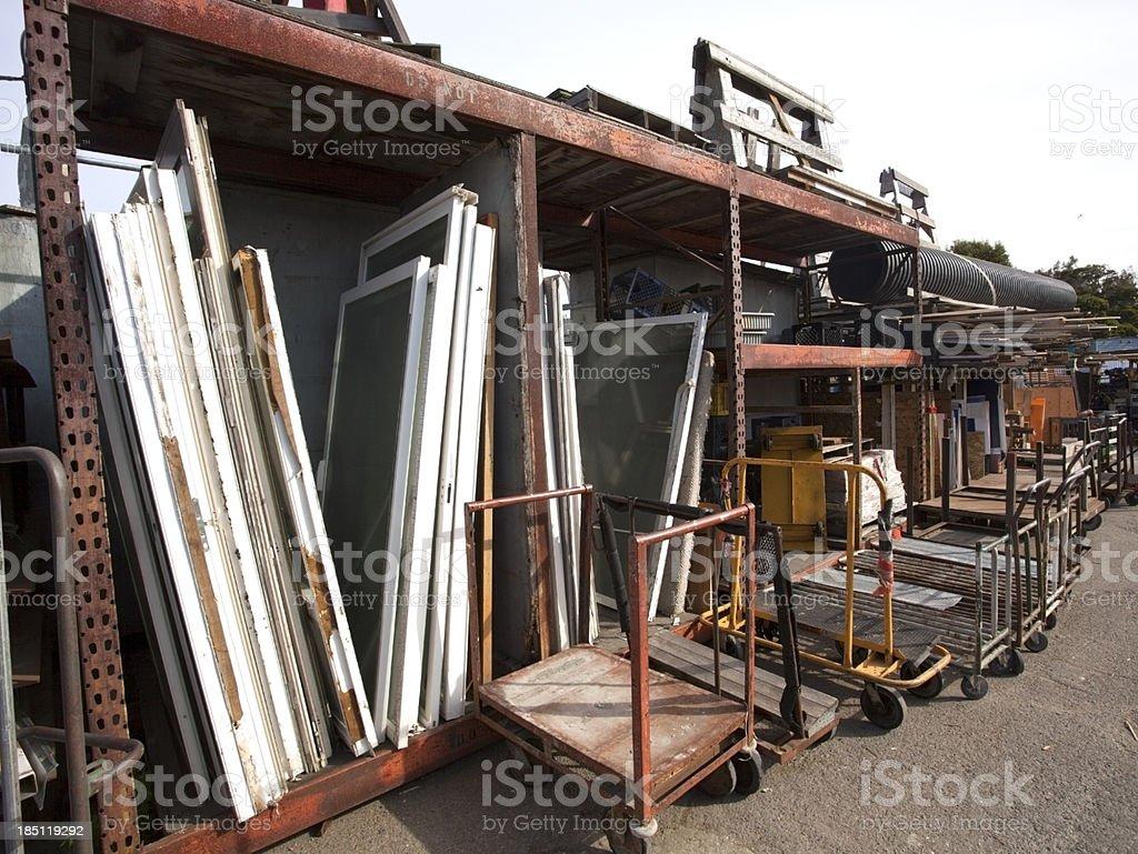 Recycling Carts and Screen Doors stock photo