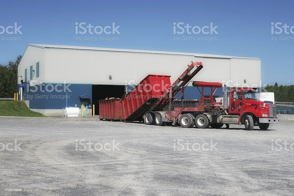 Recycling Center With Unloading Truck stock photo