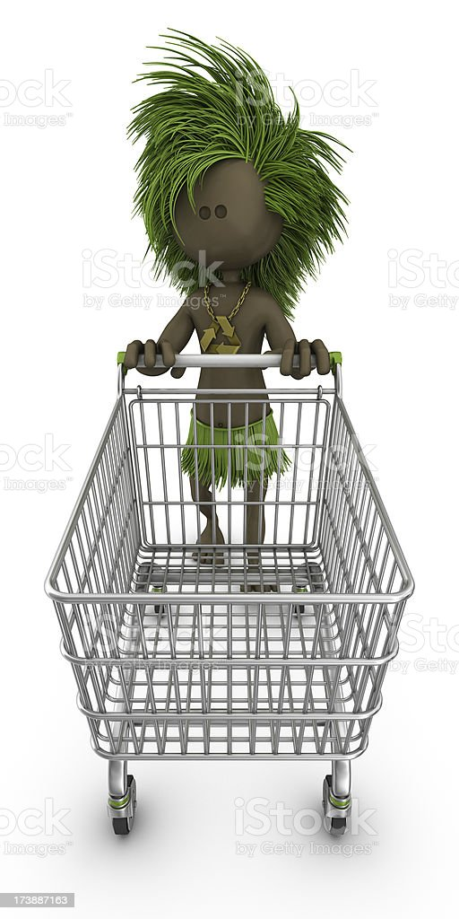 recycling chief with shopping cart royalty-free stock photo