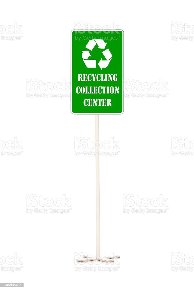 Recycling collection center sign royalty-free stock photo