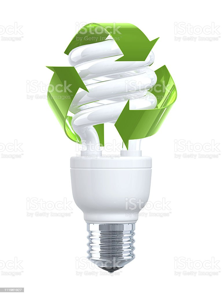 Recycling Compact Fluorescent Light Bulb stock photo