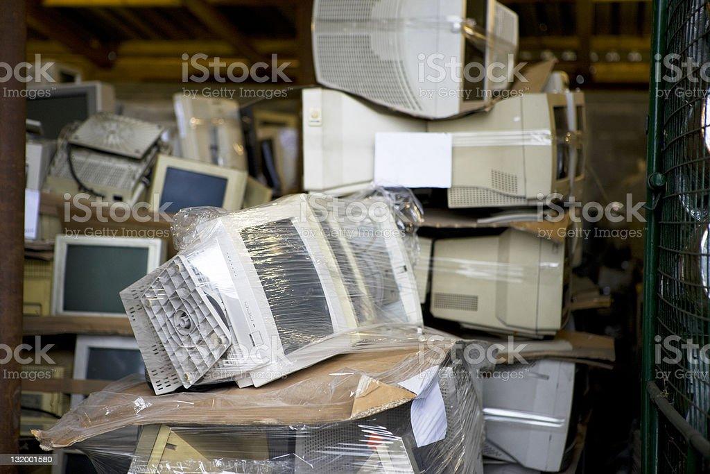Recycling computer monitors royalty-free stock photo