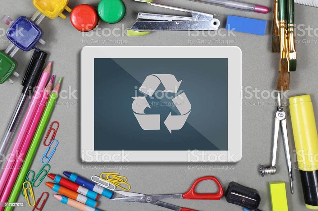 Recycling concept with office supplies stock photo