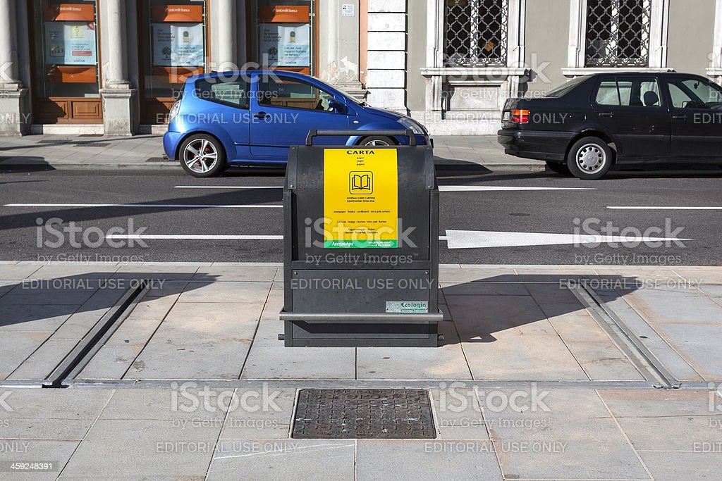 Recycling container for paper, Trieste, Italy royalty-free stock photo