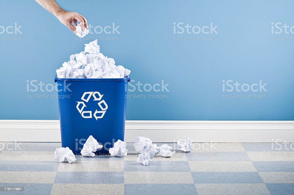 Recycling Container With Crumpled Paper stock photo