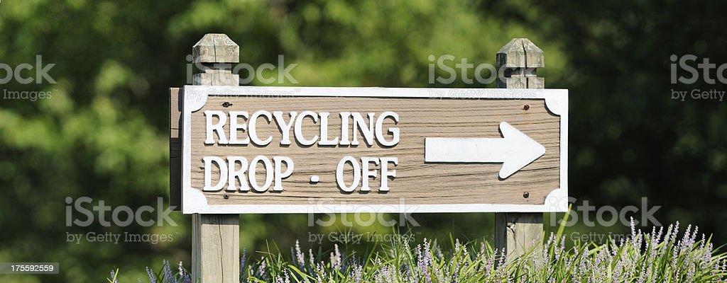 Recycling drop off sign panorama stock photo