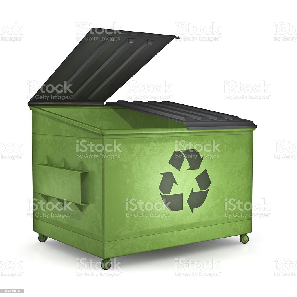 Recycling dumpster stock photo