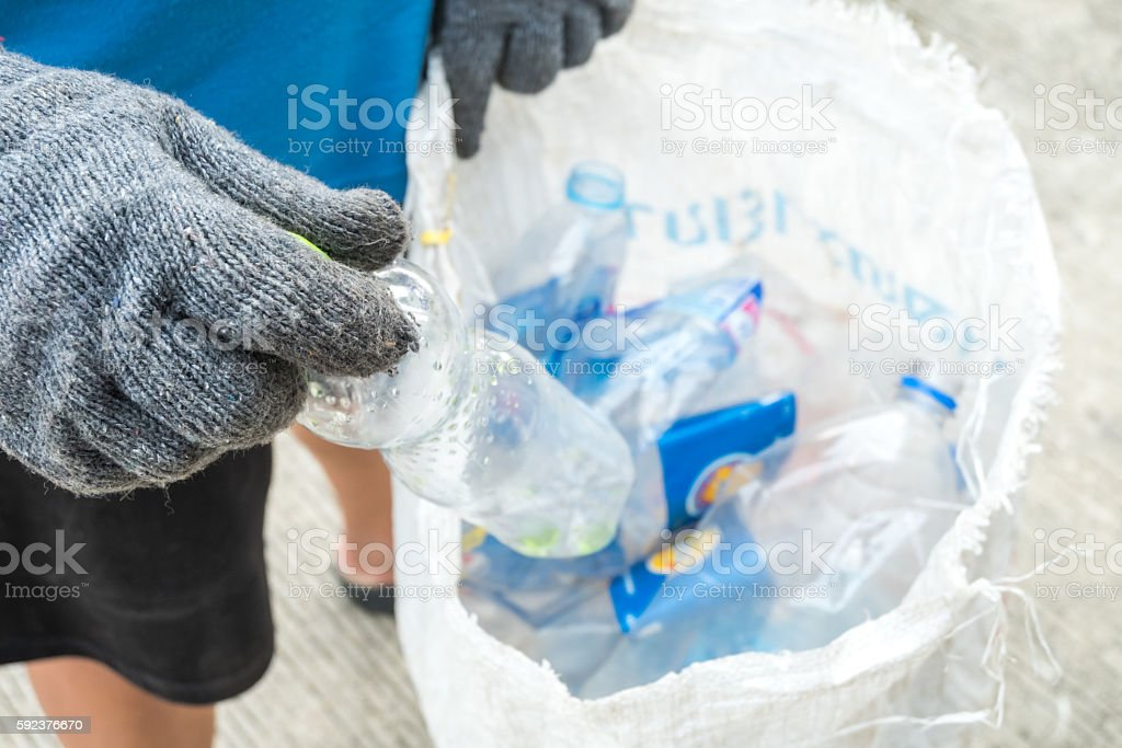 Recycling garbage and reusable waste management as old paper gla stock photo