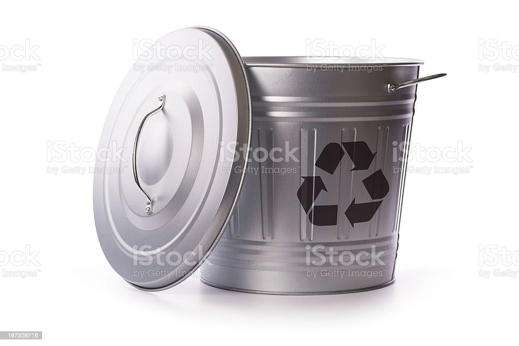 recycling garbage can (clipping path) royalty-free stock photo