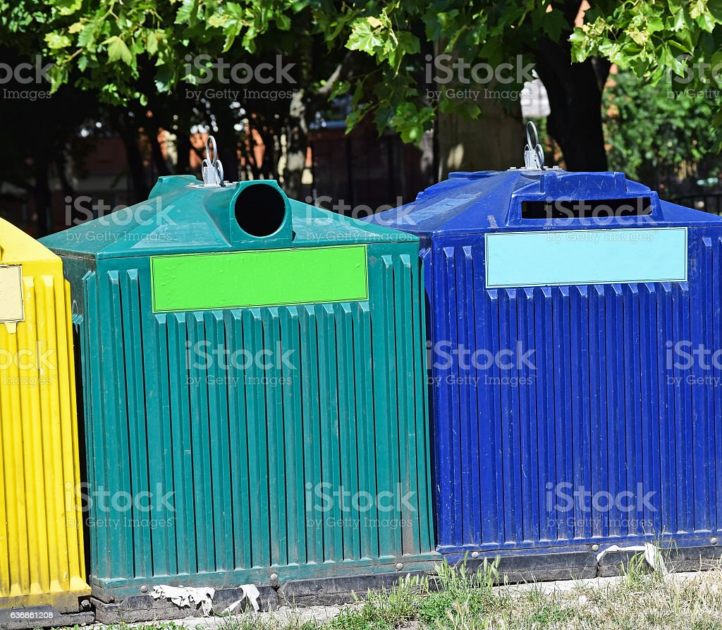 Recycling garbage cans on the street stock photo