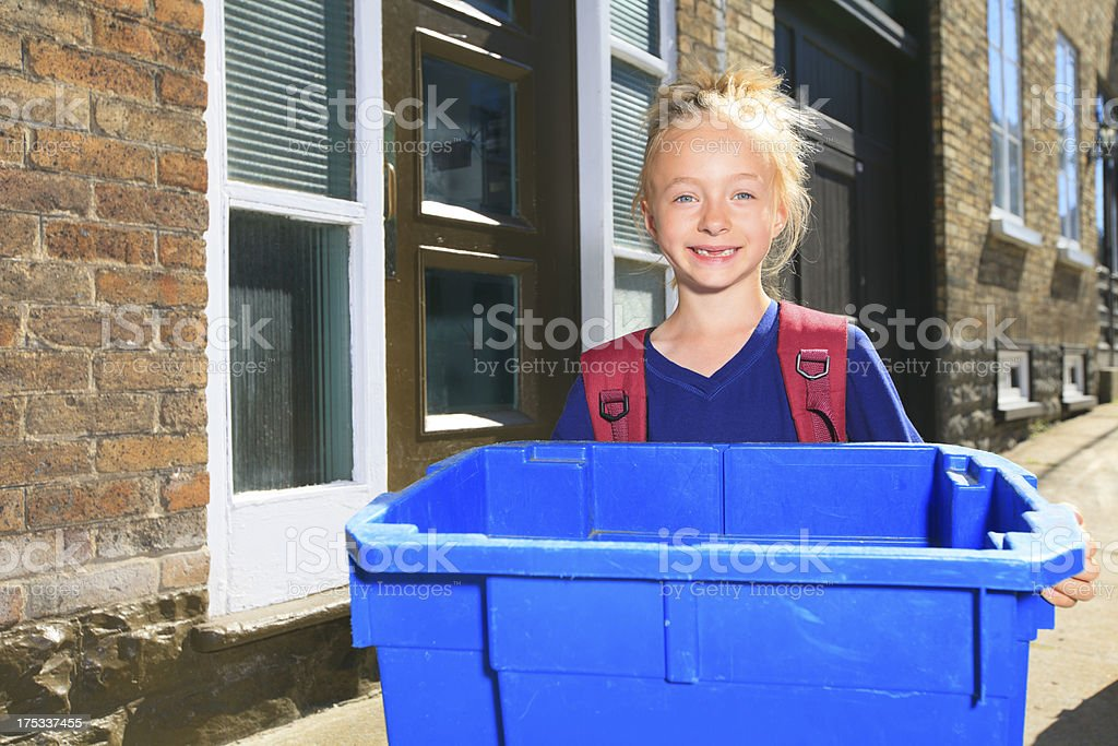 Recycling Girl City royalty-free stock photo