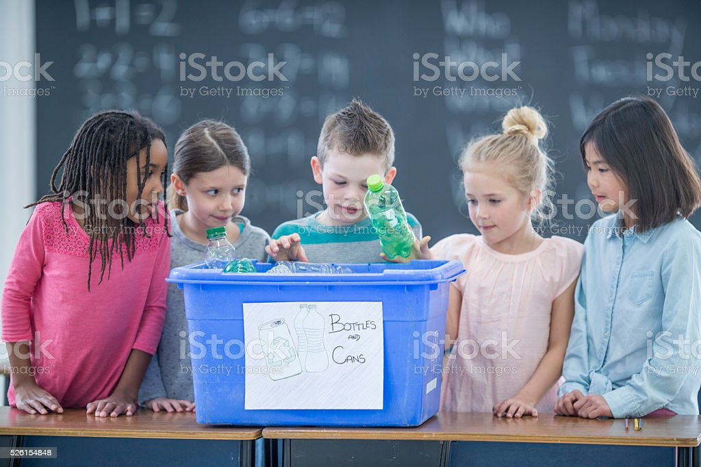 Recycling in the Classroom stock photo