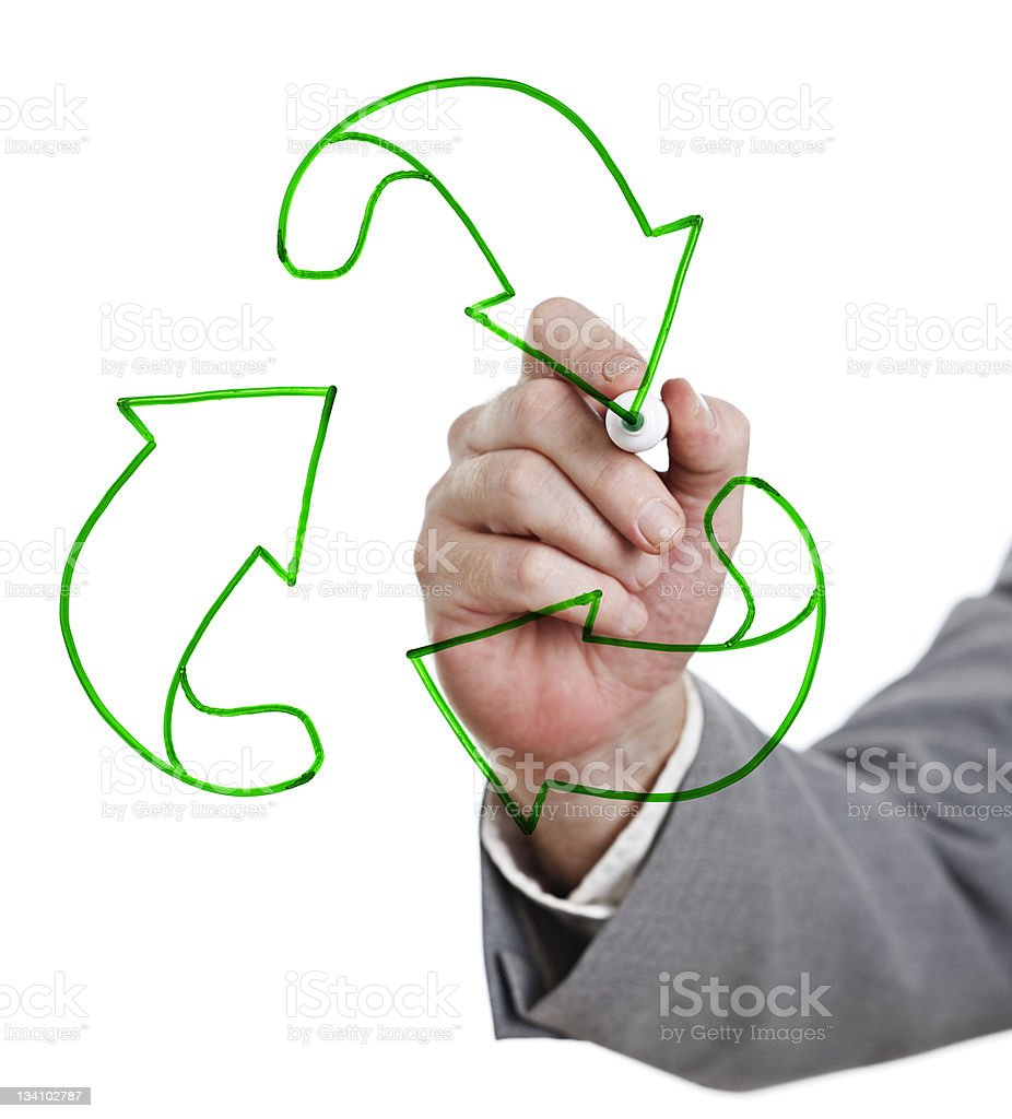 Recycling is good! Businessman's hand draws sign on whiteboard stock photo