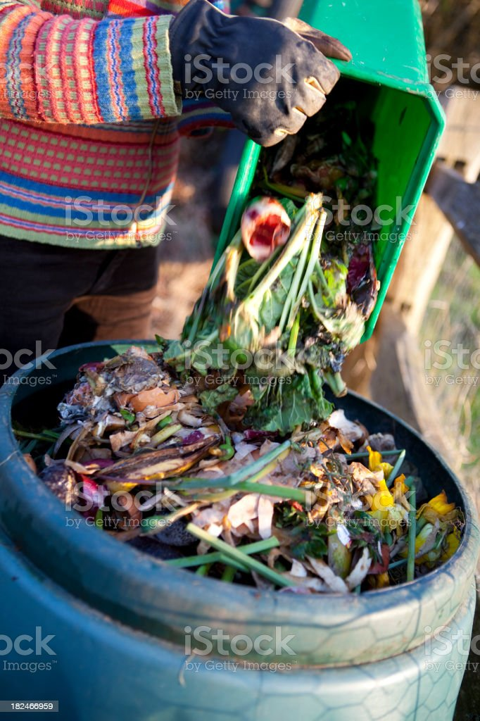 Recycling Kitchen Waste into Compost stock photo