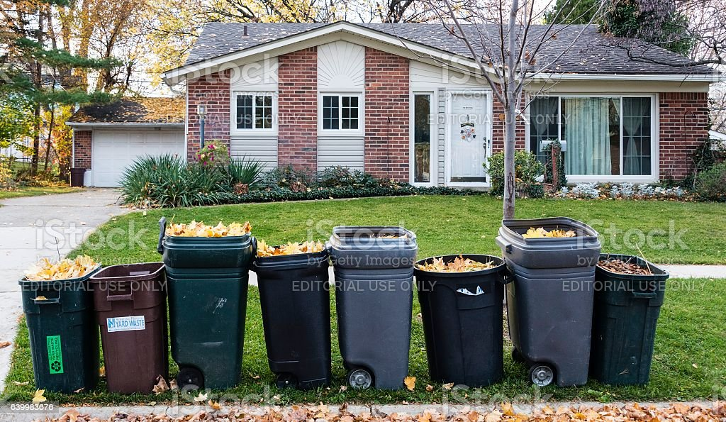 Recycling Leaves in Autumn, Rochester USA stock photo