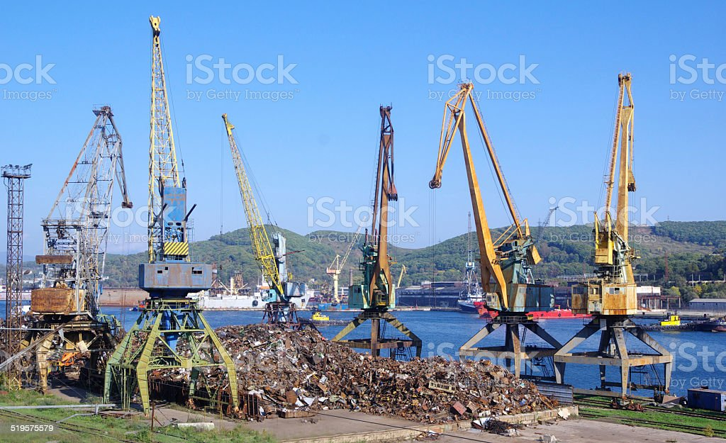 Recycling, loading scrap Russia. stock photo