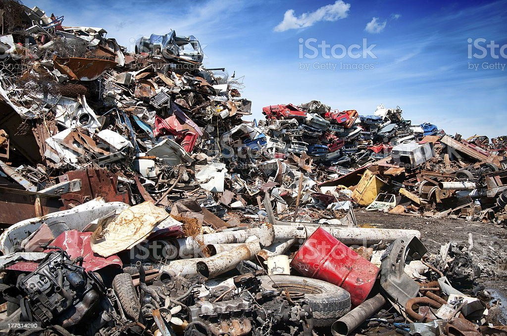 Recycling of cars stock photo