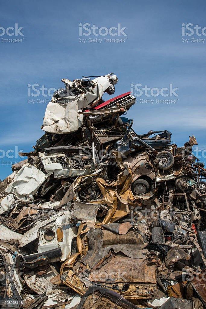 Recycling of metal-based consumer products in a scrap yard. stock photo