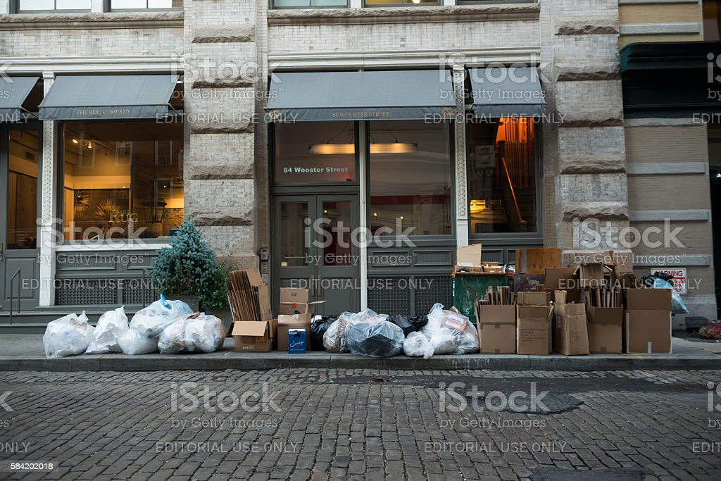 Recyling on curb in New York City stock photo