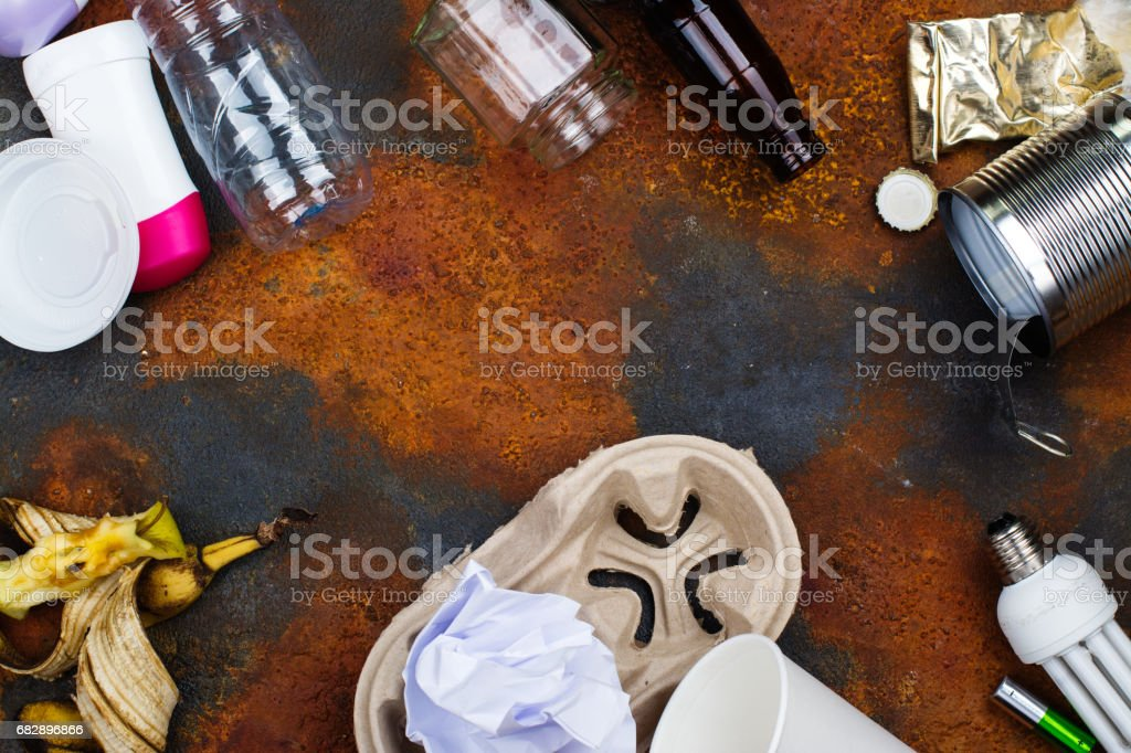 Recycling or sorting waste concept. Ecology protection stock photo