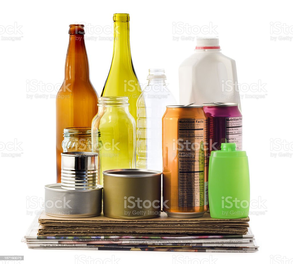Recycling Packaging Material, Paper, Cardboard, Bottles, Plastic, Glass Cans stock photo