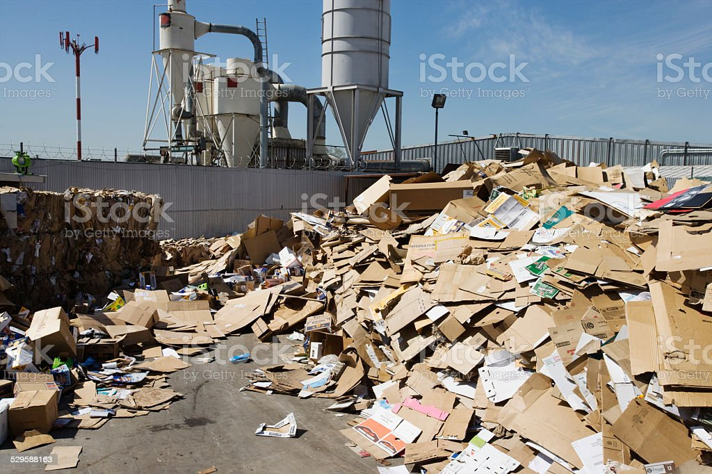Recycling piles at the tip stock photo