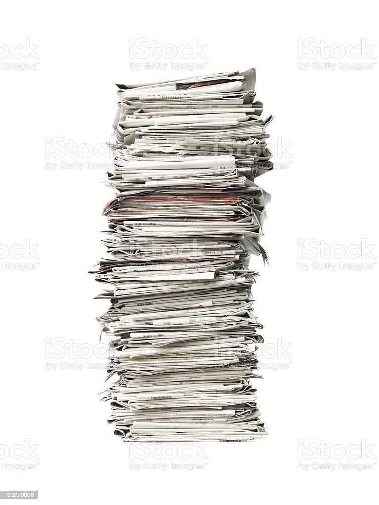 Recycling piles of news papers stock photo