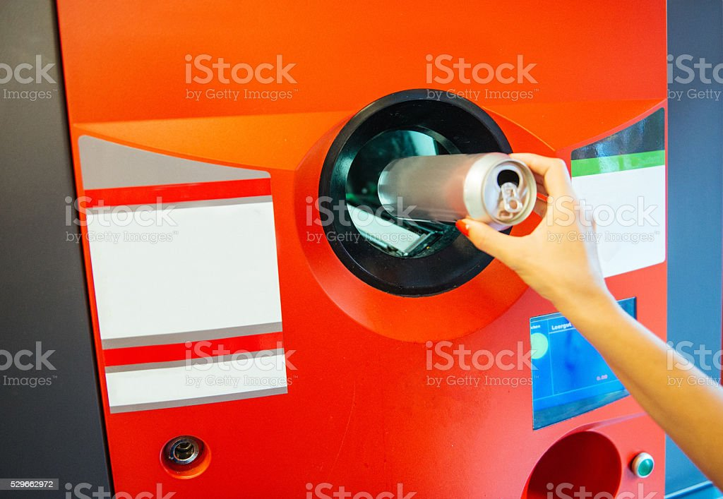 Recycling plastic and metal helps our environment stock photo