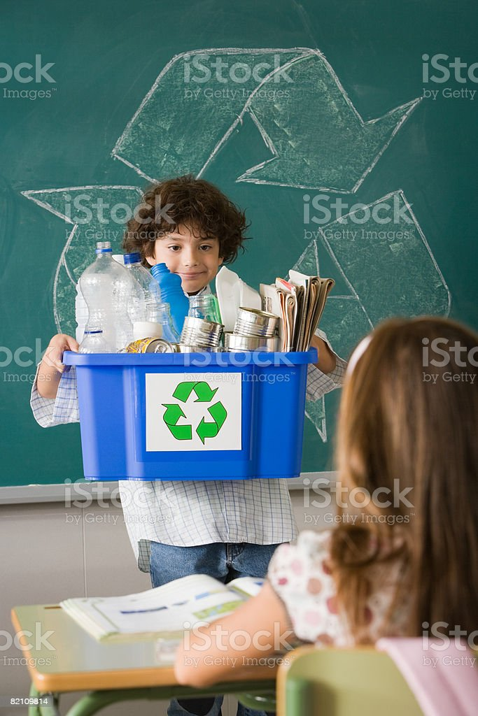 Recycling show and tell stock photo