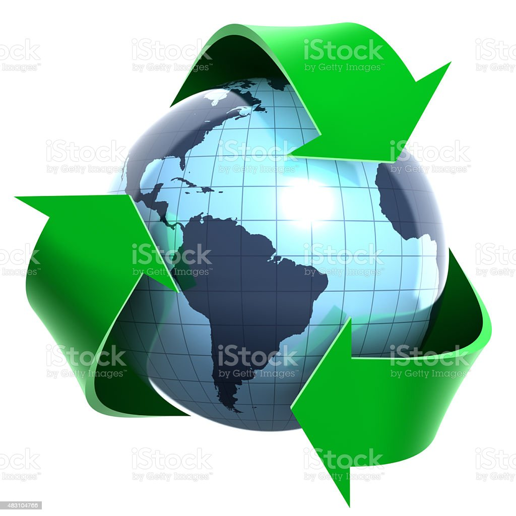 Recycling sign and the World. stock photo