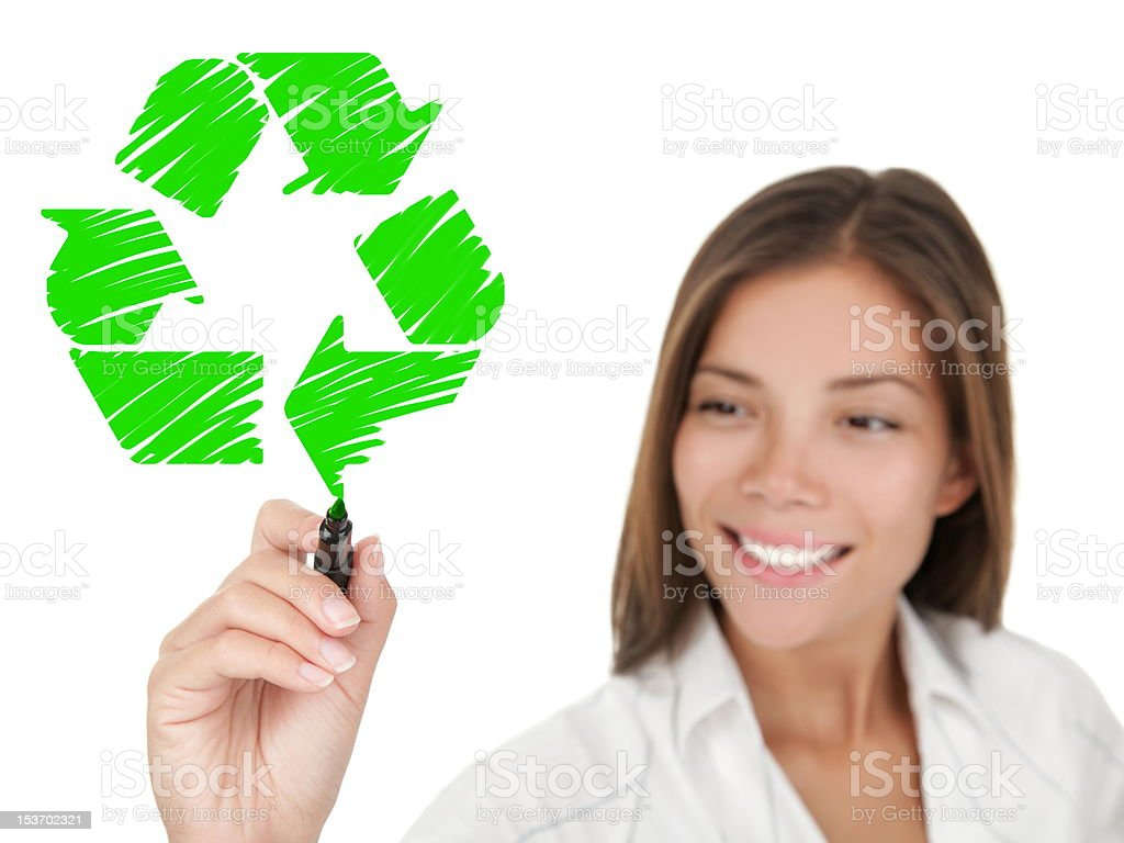 Recycling sign drawing woman stock photo