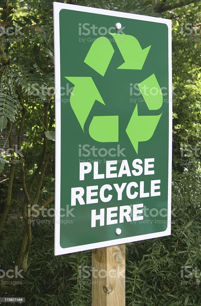 recycling sign side on royalty-free stock photo