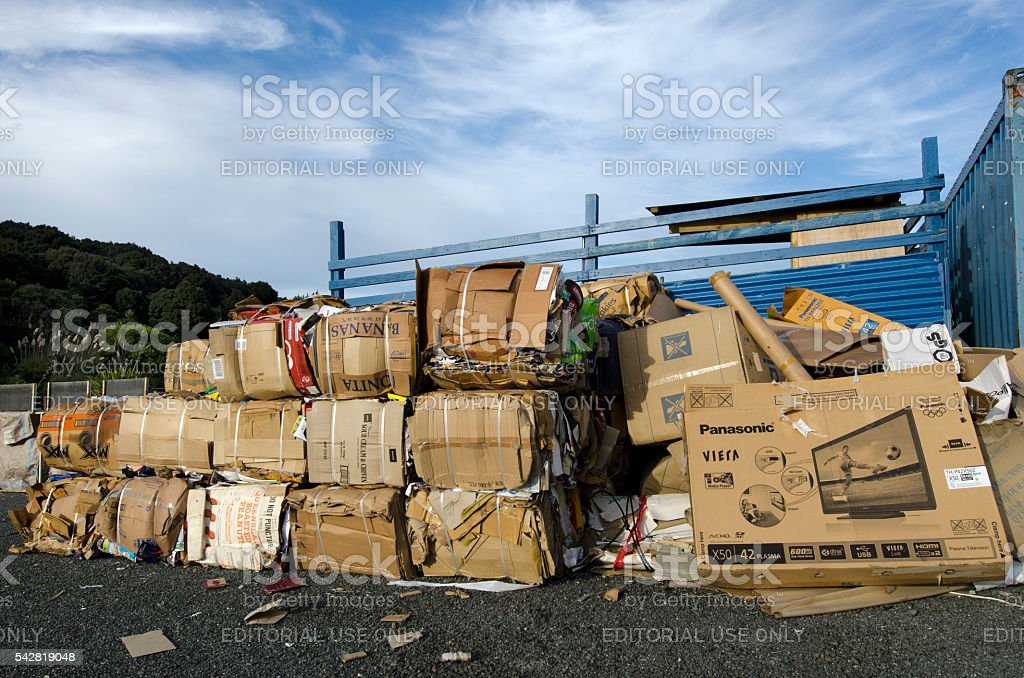 Recycling station stock photo