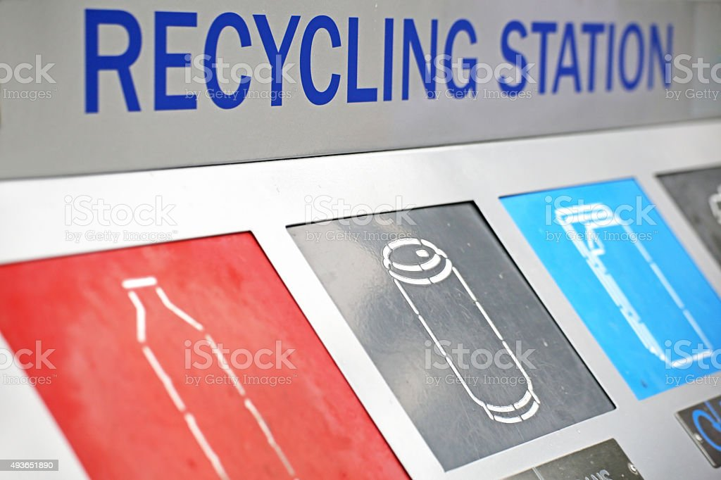 Recycling station with different parts for recycled trash stock photo