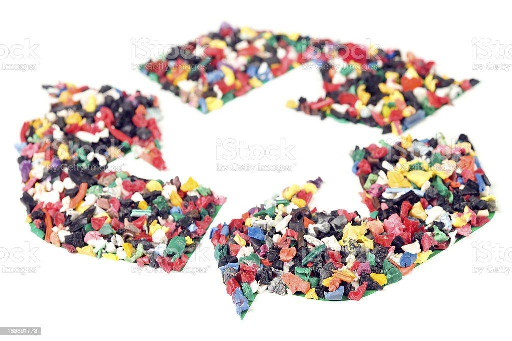 Recycling Symbol of Shredded Plastic Isolated stock photo