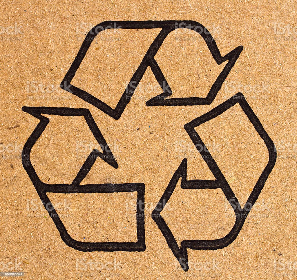 recycling symbol on cardboard royalty-free stock photo