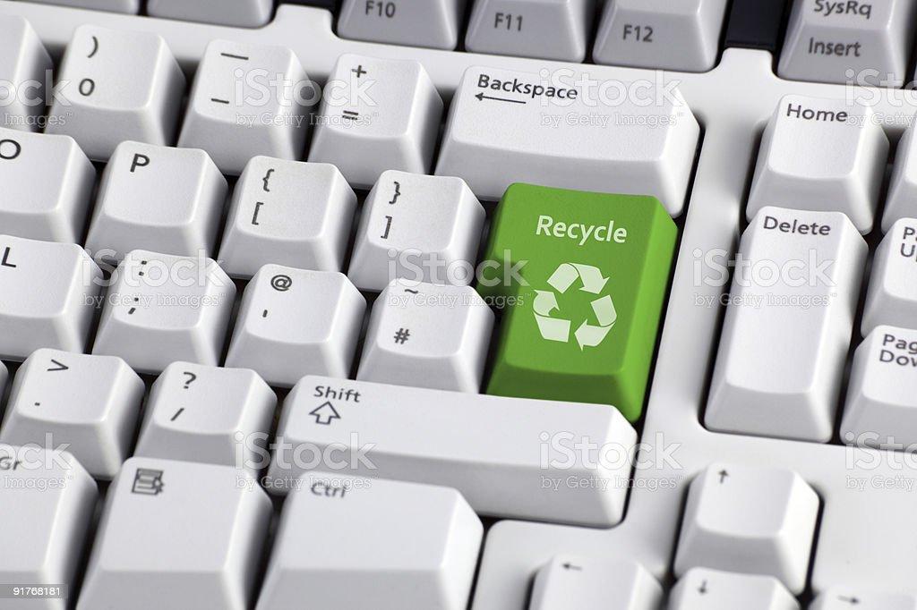 Символ переработки на клавиатуре Стоковые фото Стоковая фотография