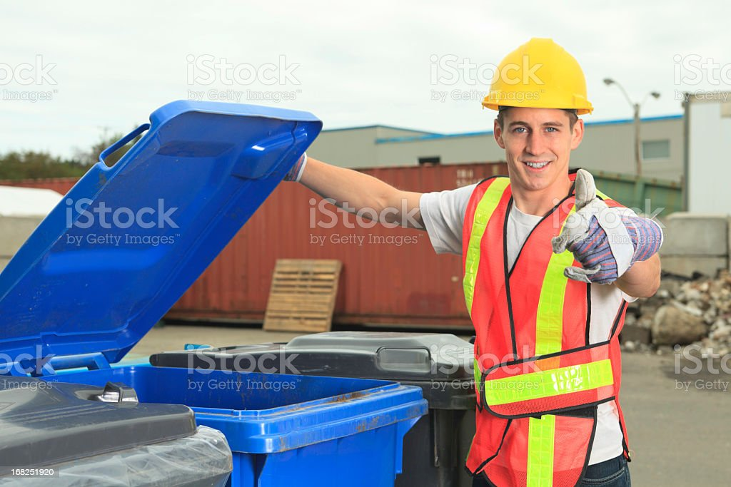 Recycling Worker - Good Finger Recycle royalty-free stock photo