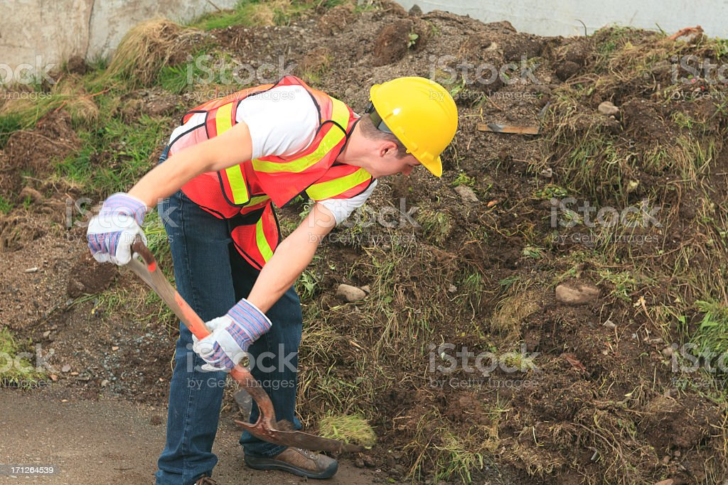Recycling Worker - Grass Working royalty-free stock photo
